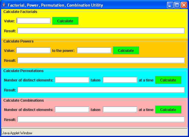Factorial Utilities